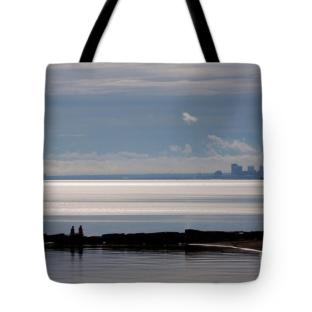 Couple Tote Bag featuring the photograph Then He Told Her by James Guilford