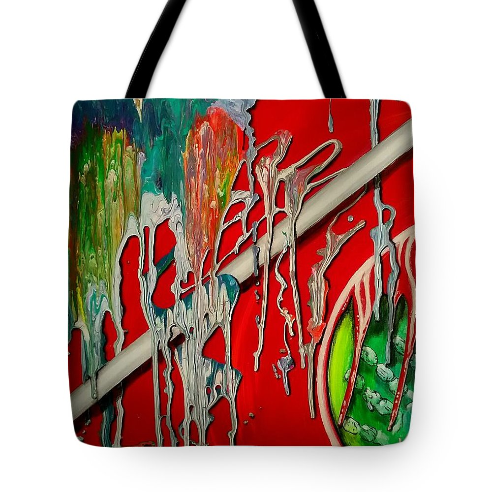 Surrealism Tote Bag featuring the painting Chaos by Kelly Jean