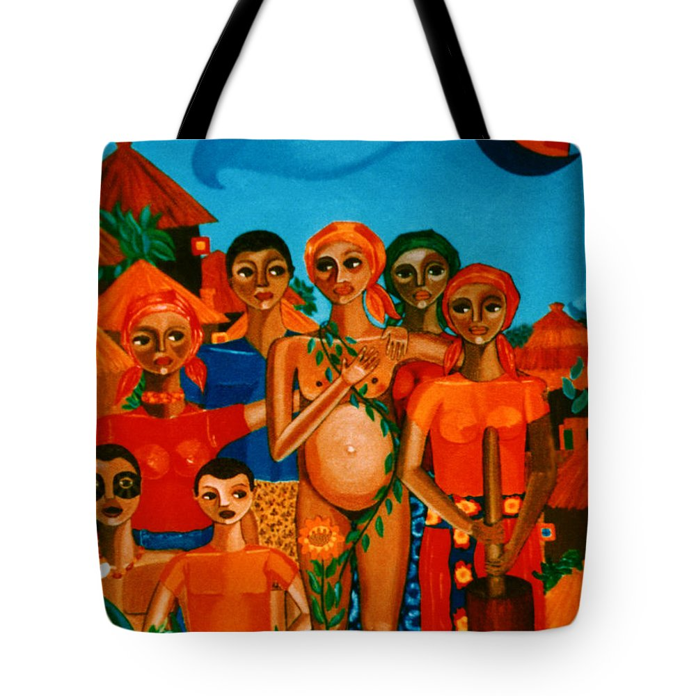 Pregnant Women Tote Bag featuring the painting There Are Always Sunflowers For Those Waiting A New Life by Madalena Lobao-Tello