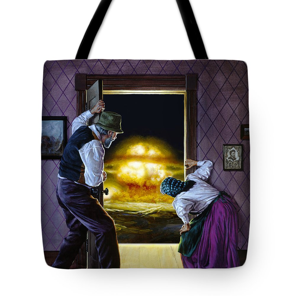 Space Tote Bag featuring the painting There Goes The Neighborhood by Richard Hescox