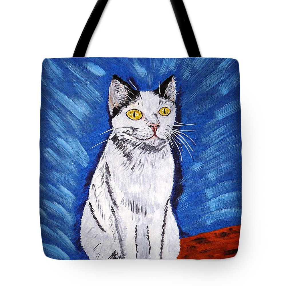 Cat Tote Bag featuring the painting There Is A Bird by Valerie Ornstein