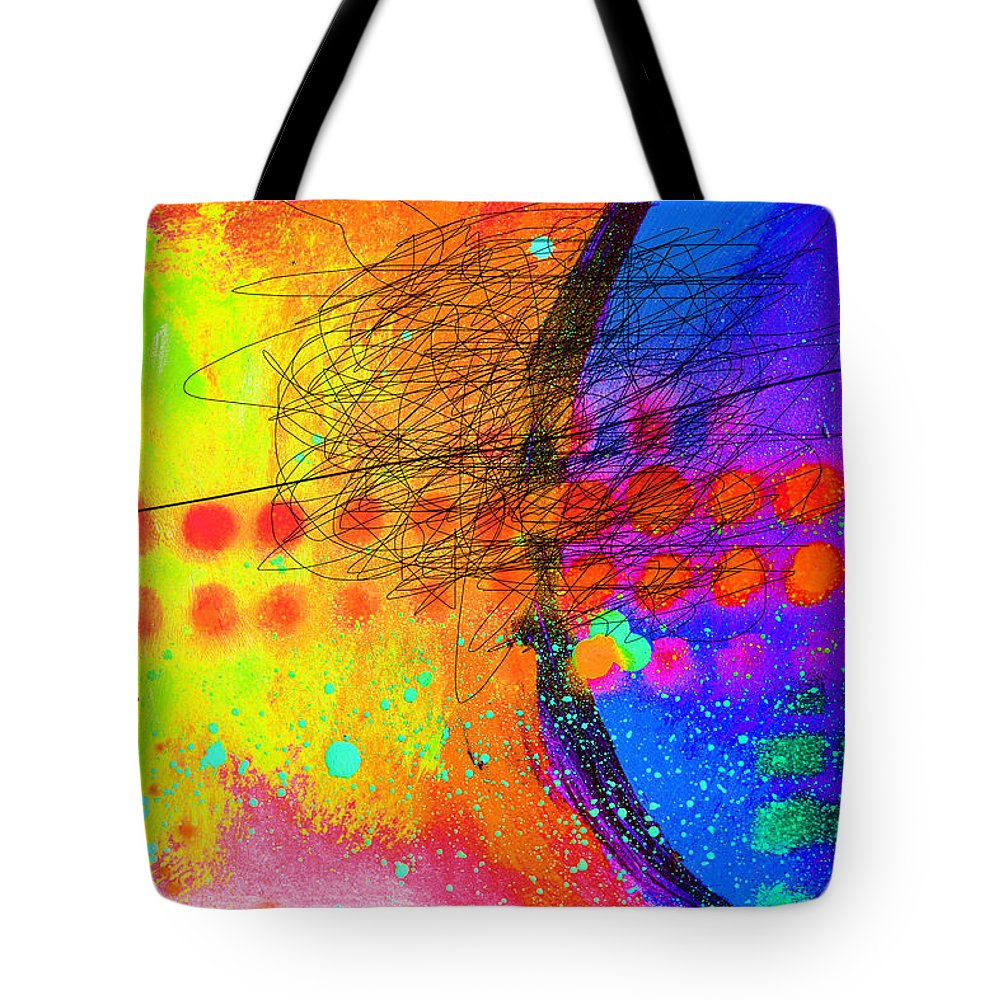 Abstract Tote Bag featuring the painting There Is No Curvature by Paul Megens