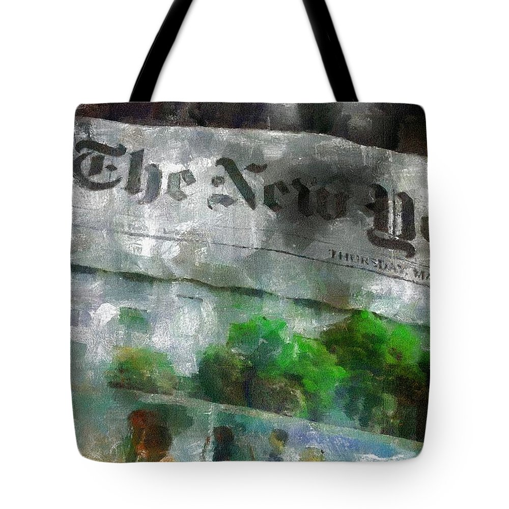Editorial Tote Bag featuring the painting There Is No News Fit To Print by RC DeWinter