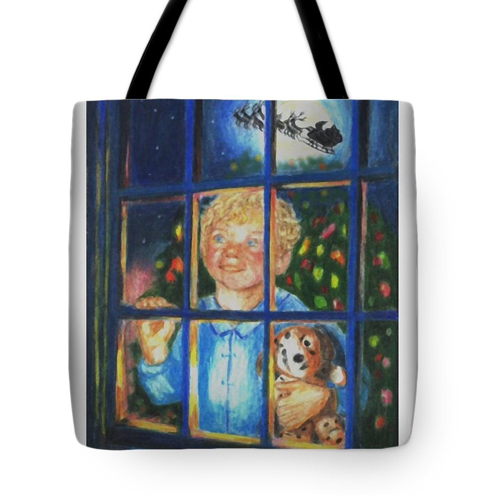 Santa Tote Bag featuring the drawing There Really Is A Santa by Quwatha Valentine
