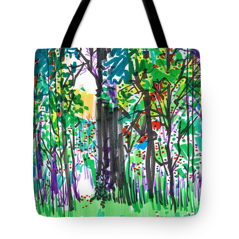 Forest Tote Bag featuring the drawing Thicket by Seth Weaver
