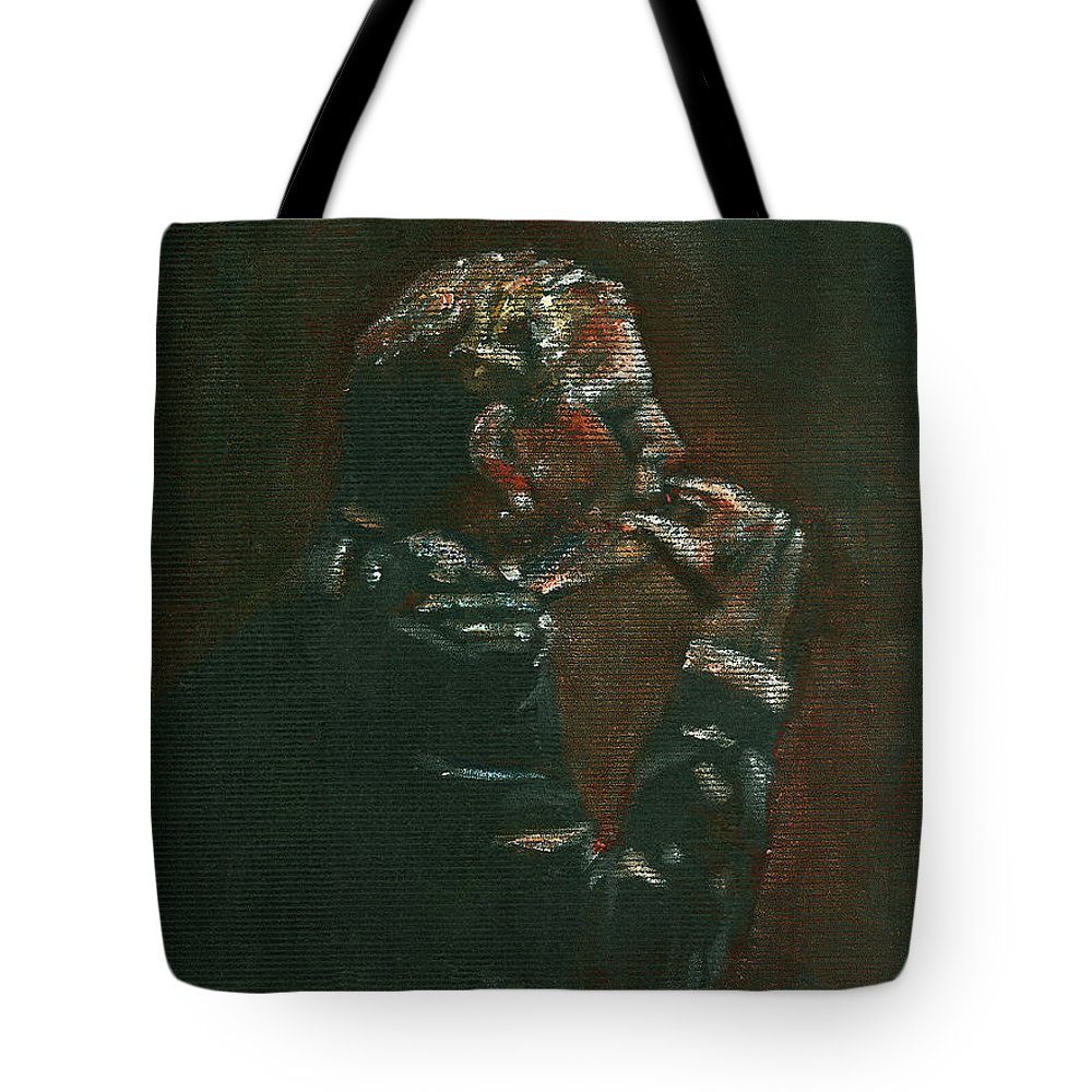 Man Tote Bag featuring the painting Thinking It Over by Arline Wagner