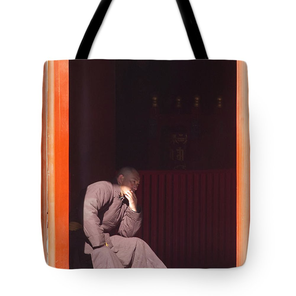 China Tote Bag featuring the photograph Thinking Monk by Sebastian Musial