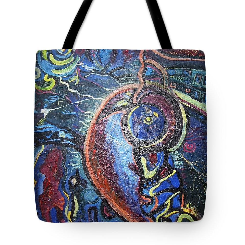 Abstract Contemporary Home Blue Oil Canvas Board Tote Bag featuring the painting Thinking Of Home by Seon-Jeong Kim
