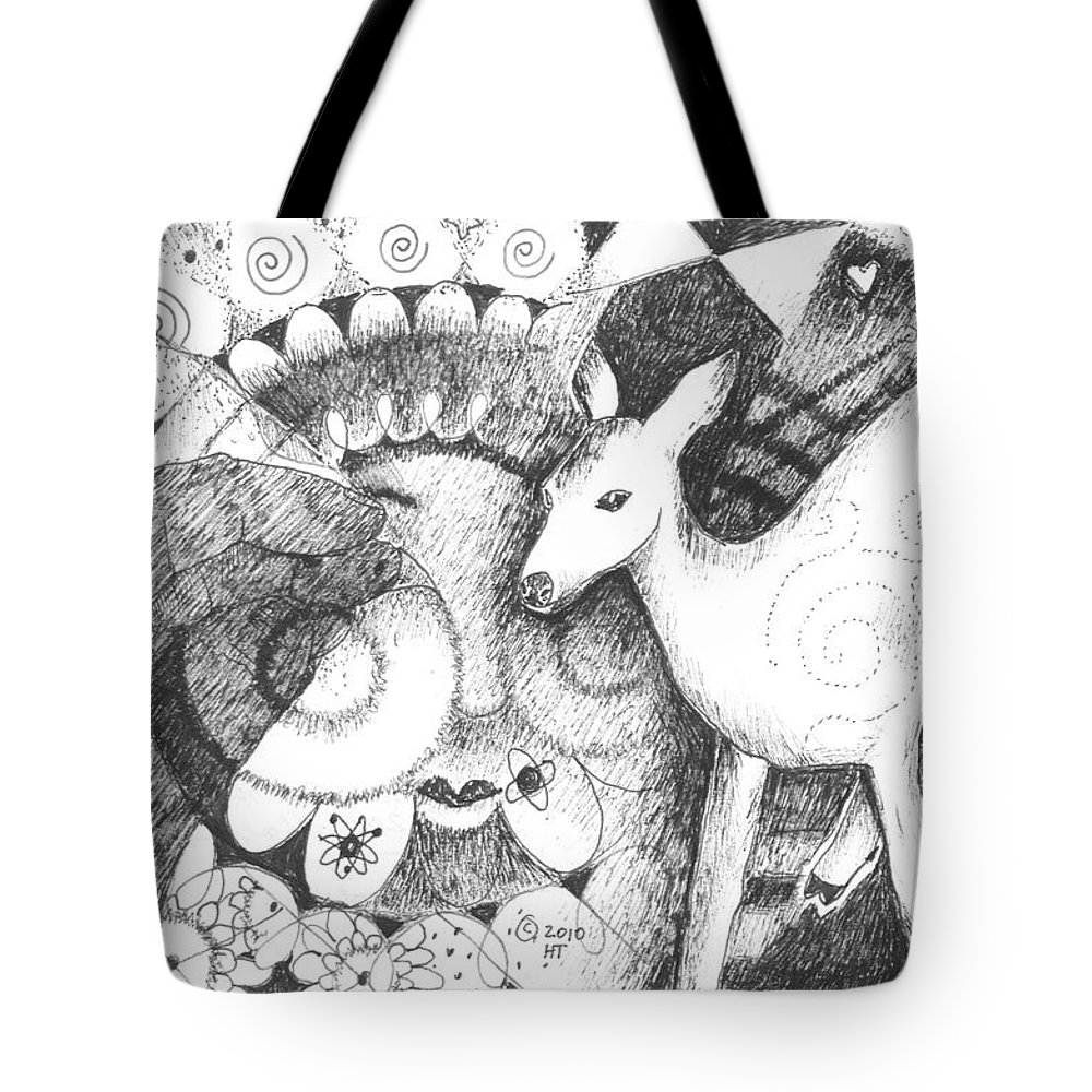 Deer Tote Bag featuring the drawing Thinking Of Mary by Helena Tiainen
