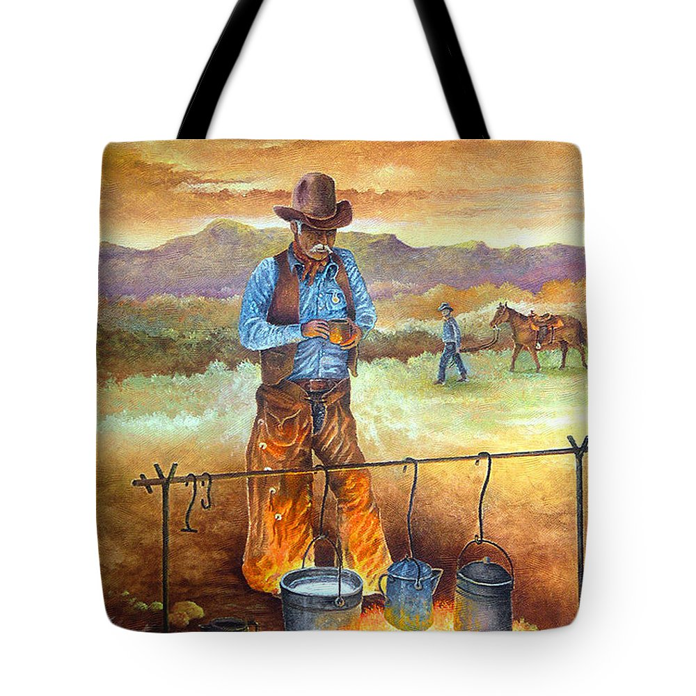 Cowboy Tote Bag featuring the painting Think'n Out His Day by Donn Kay