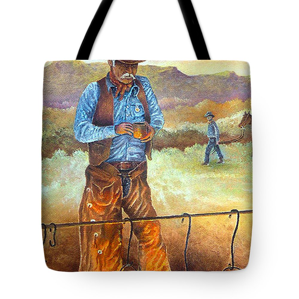 Cowboy Mountains Southwest Landscape Texas New Mexico Camp Fire Tote Bag featuring the painting Think'n Out The Day by Donn Kay