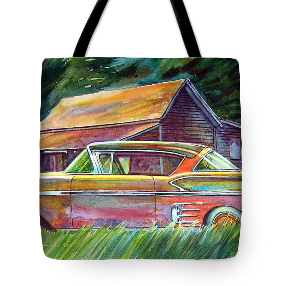 Rusty Car Chev Impala Tote Bag featuring the painting This Impala Doesn by Ron Morrison