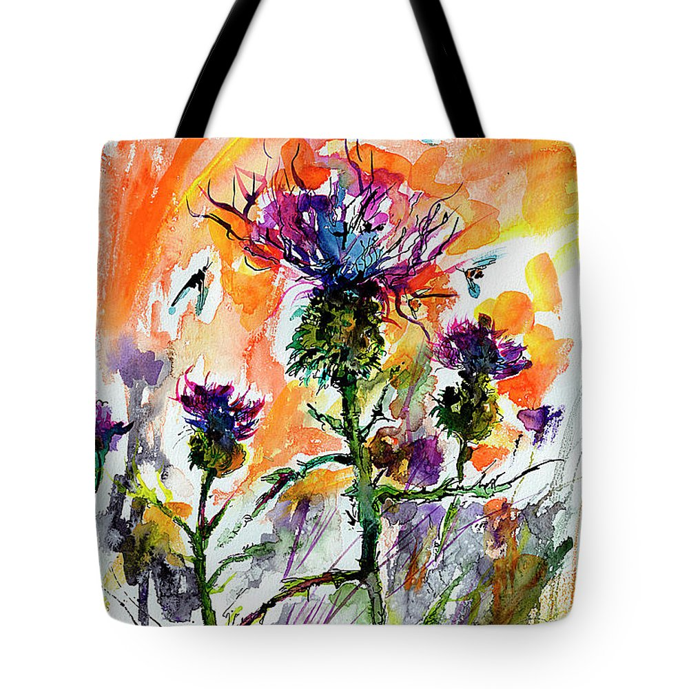 Thistles Tote Bag featuring the painting Thistles And Bees Watercolor And Ink by Ginette Callaway