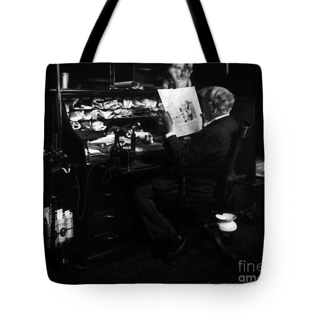 Thomas Edison Tote Bag featuring the photograph Thomas Edison Reading by Sad Hill - Bizarre Los Angeles Archive