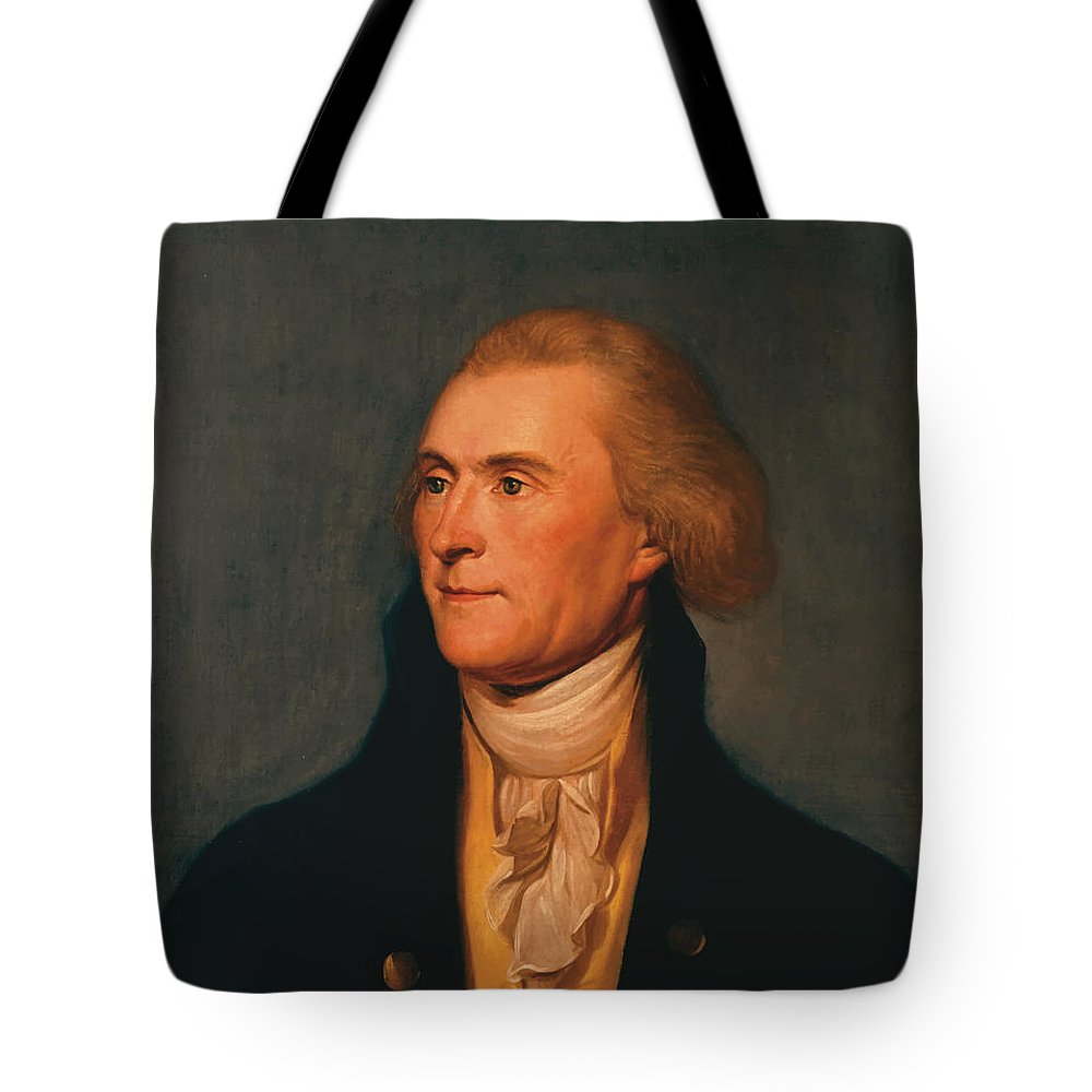 Thomas Jefferson Tote Bag featuring the painting Thomas Jefferson by War Is Hell Store