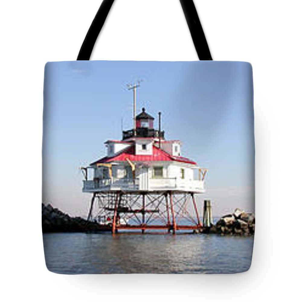 Lighthouse Tote Bag featuring the photograph Thomas Point by John Graziani