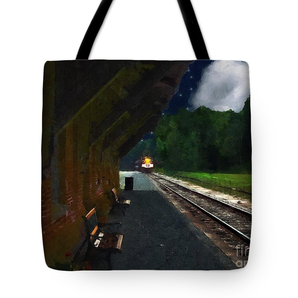 Autumn Tote Bag featuring the painting Thomaston Train At Night by RC DeWinter