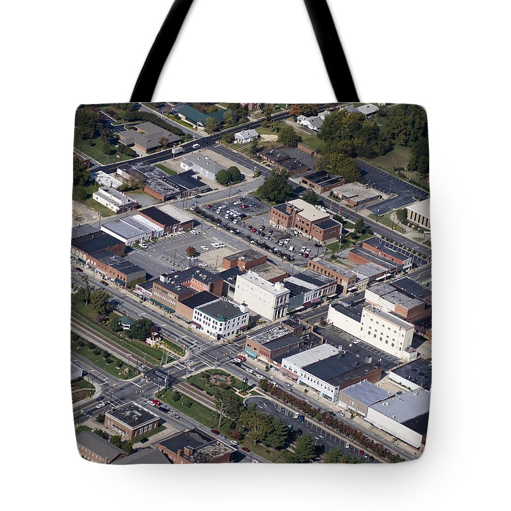 Thomasville Tote Bag featuring the photograph Thomasville Nc Aerial by Robert Ponzoni