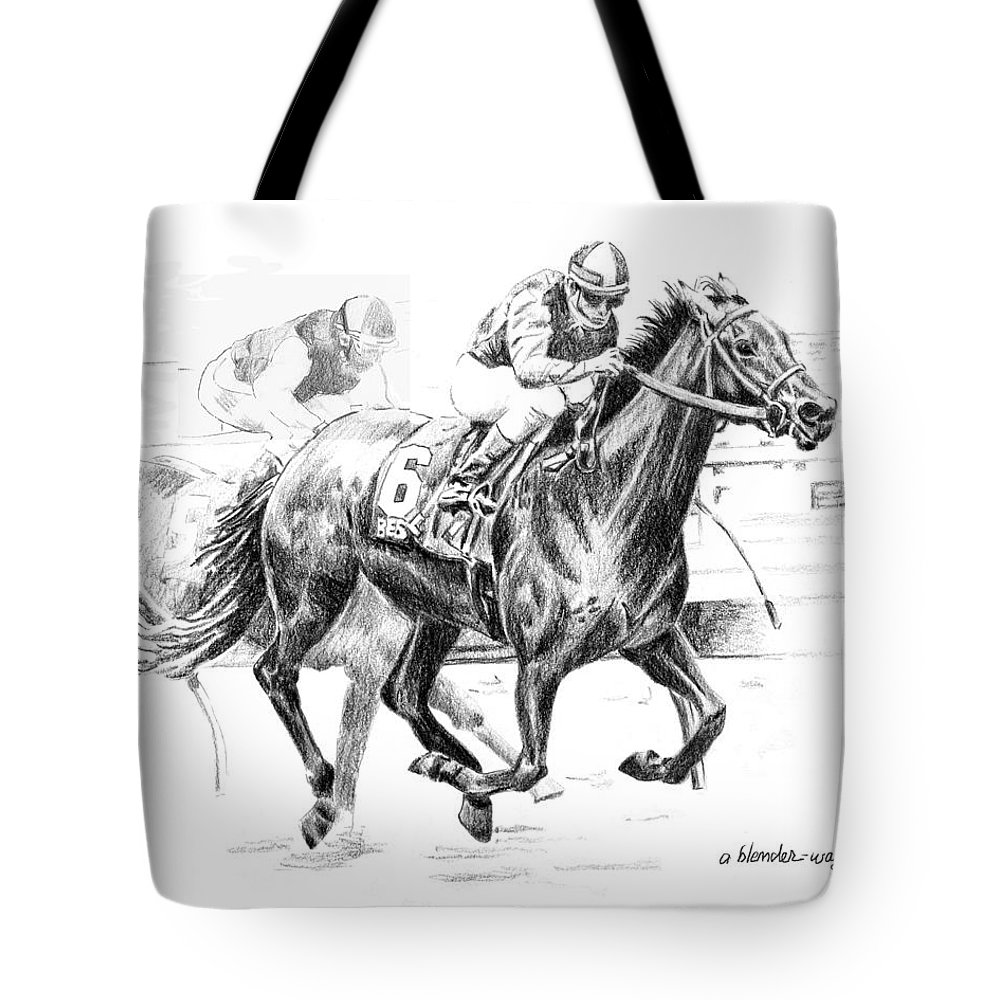 Thoroughbred Tote Bag featuring the drawing Thoroughbred Best Pal by Arline Wagner