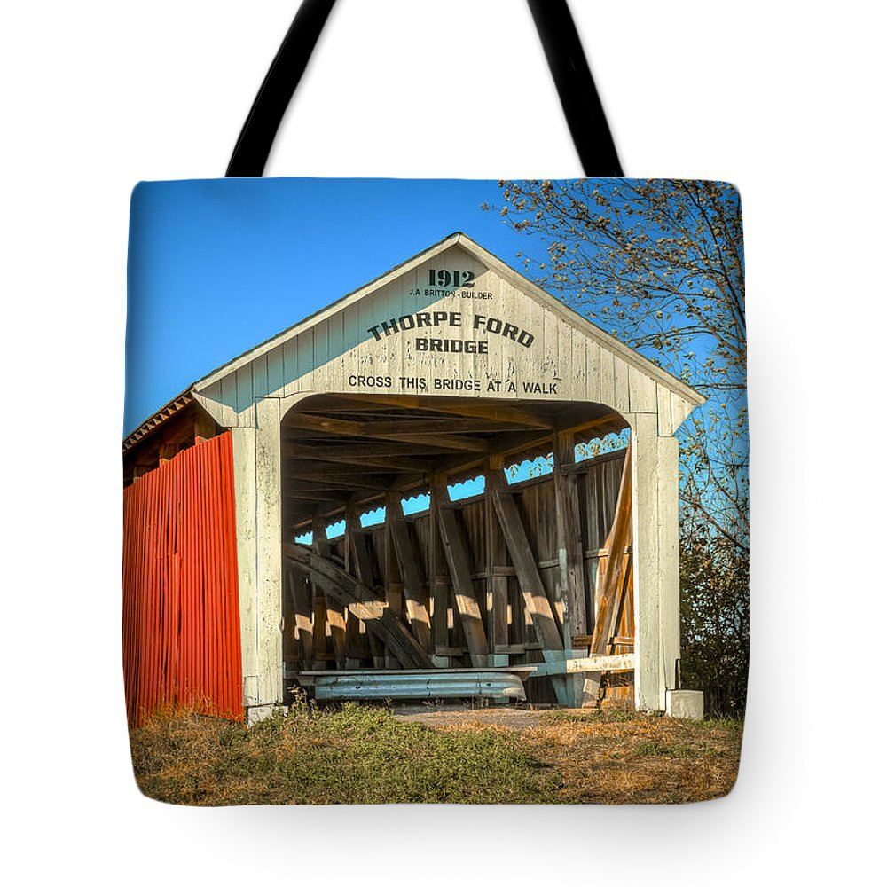 America Tote Bag featuring the photograph Thorpe Ford Covered Bridge by Jack R Perry