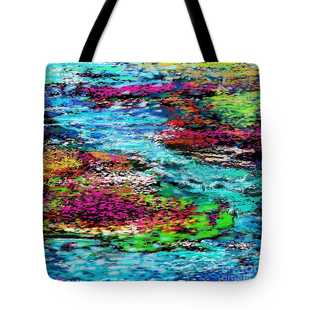 Abstract Tote Bag featuring the digital art Thought Upon A Stream by David Lane