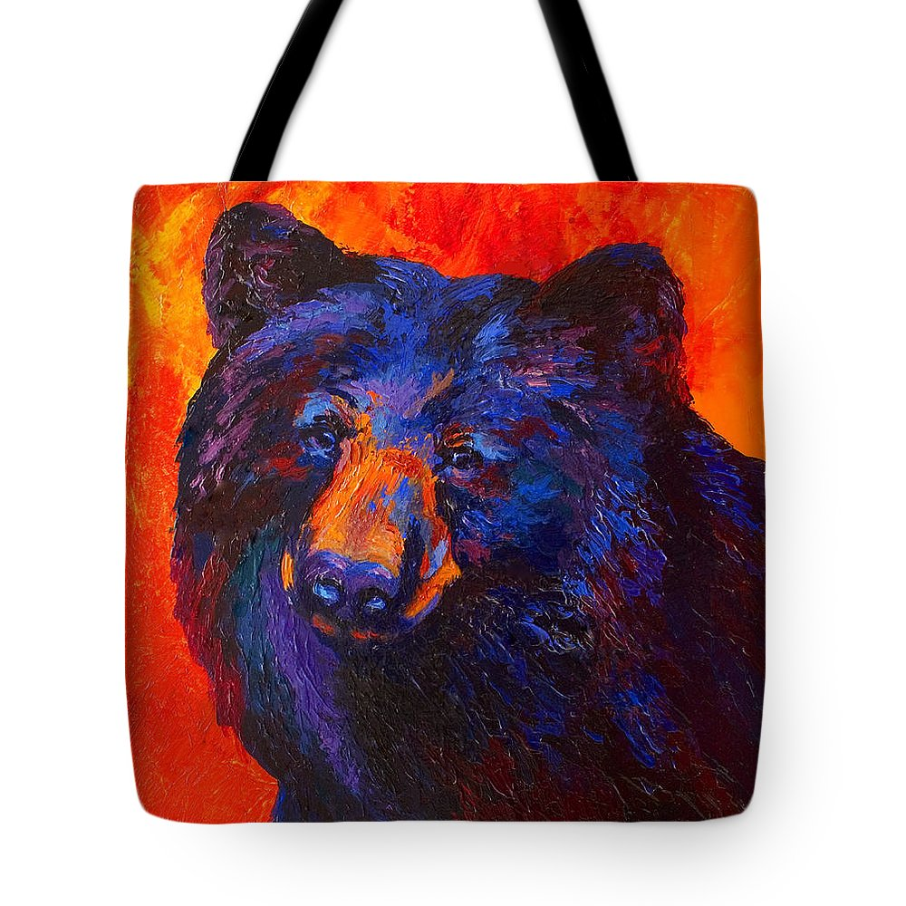Bear Tote Bag featuring the painting Thoughtful - Black Bear by Marion Rose