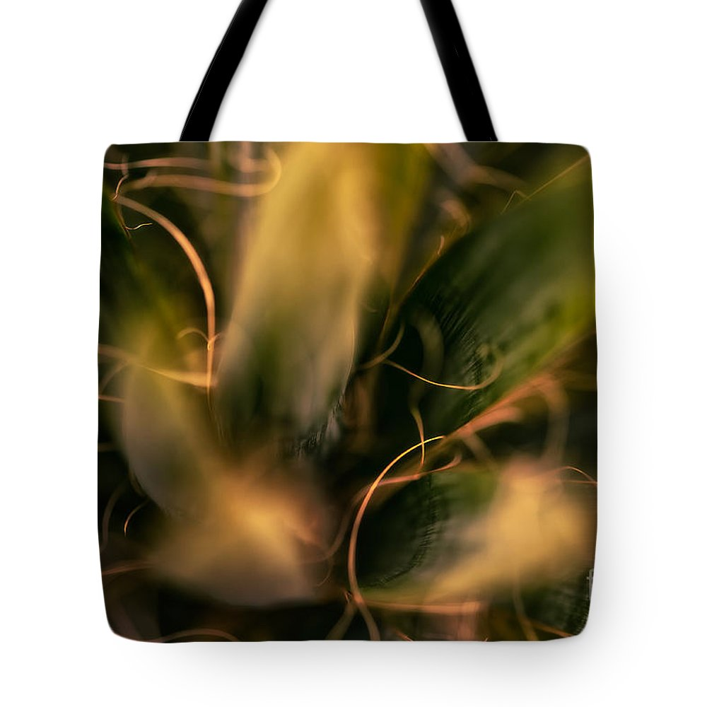 Abstract Tote Bag featuring the photograph Threads And Spears by Venetta Archer