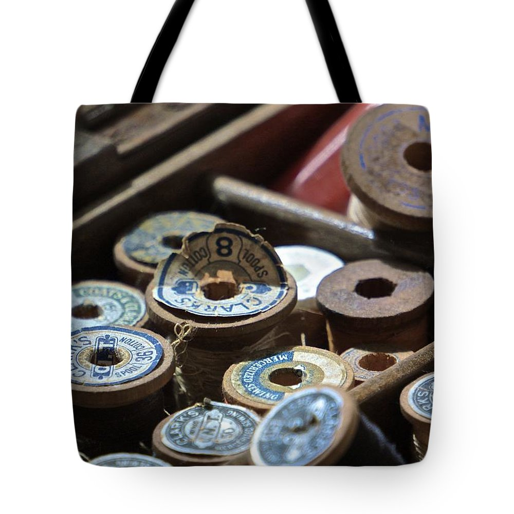 Thread Tote Bag featuring the photograph Threads by Michelle Sherwood