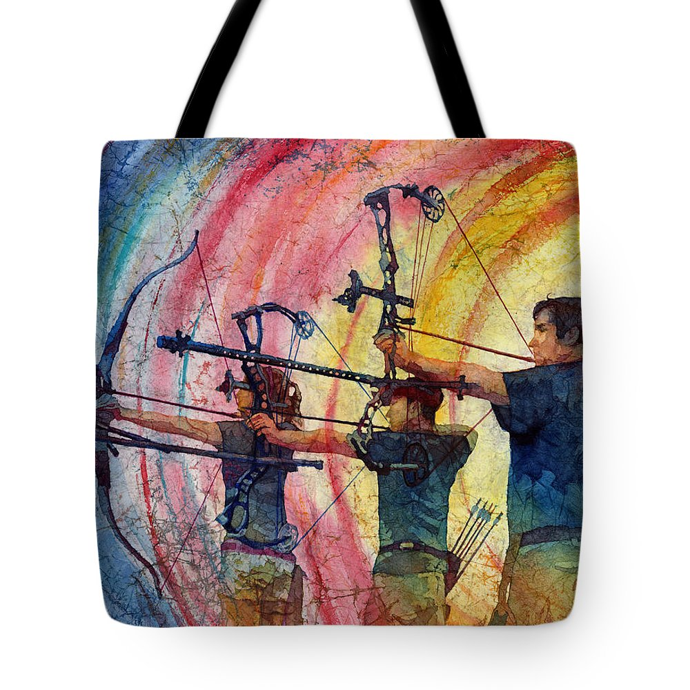 Archer Tote Bag featuring the painting Three 10s by Hailey E Herrera