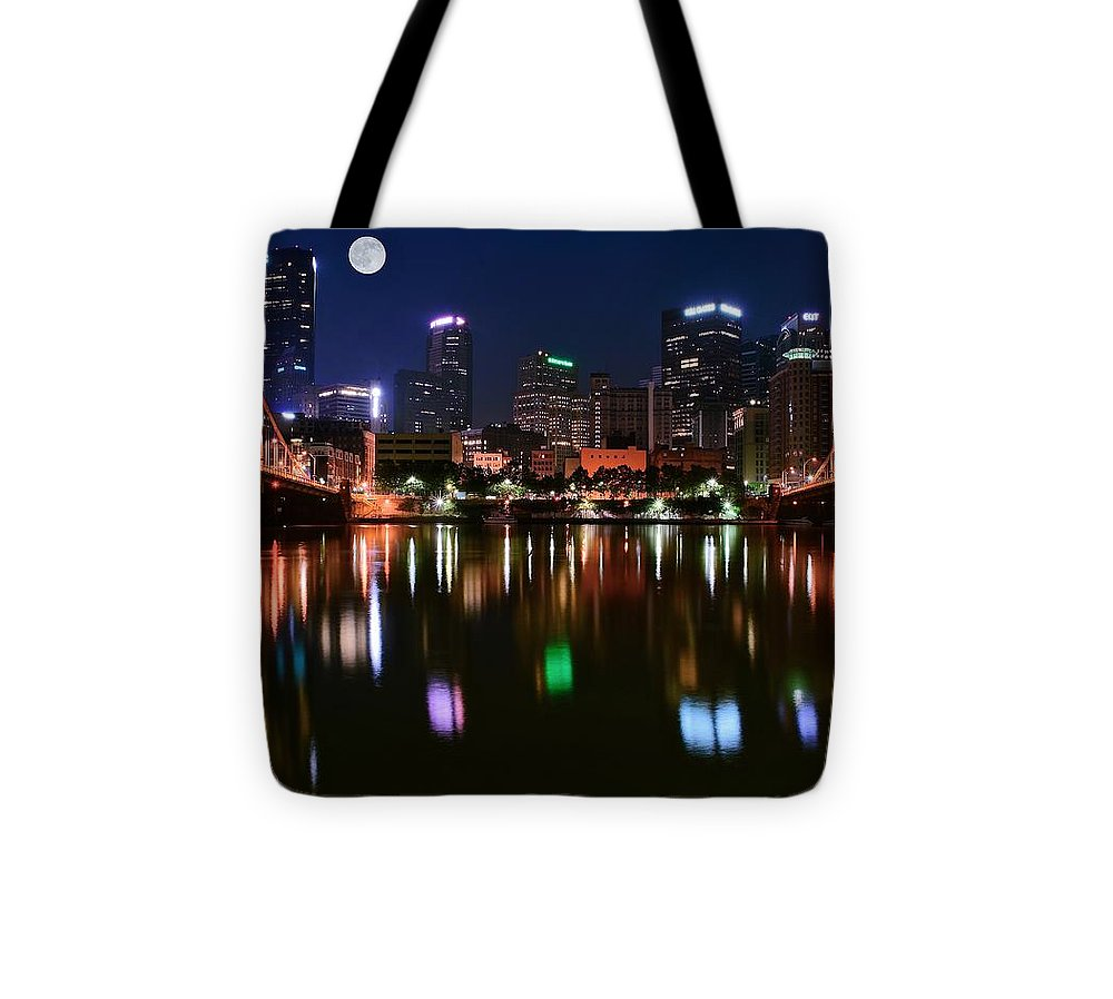 Pittsburgh Tote Bag featuring the photograph Three A M by Frozen in Time Fine Art Photography