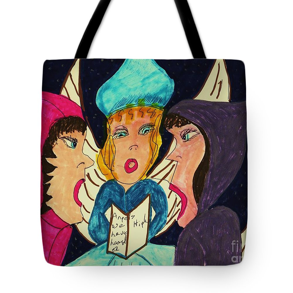 Three Angels Caroling Tote Bag featuring the mixed media Three Angel Carolers by Elinor Helen Rakowski