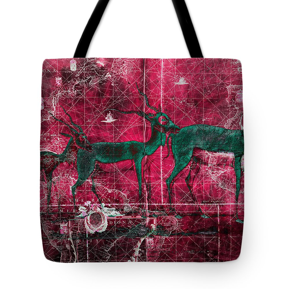 Antelope Tote Bag featuring the mixed media Three Antelope On Red by Skint Fish