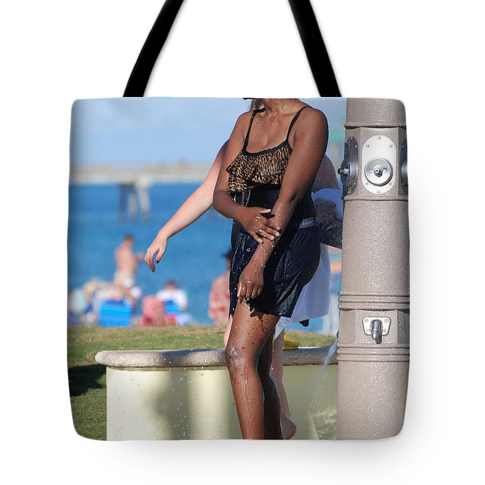 Bathing Suit Tote Bag featuring the photograph Three Arms At The Shower by Rob Hans