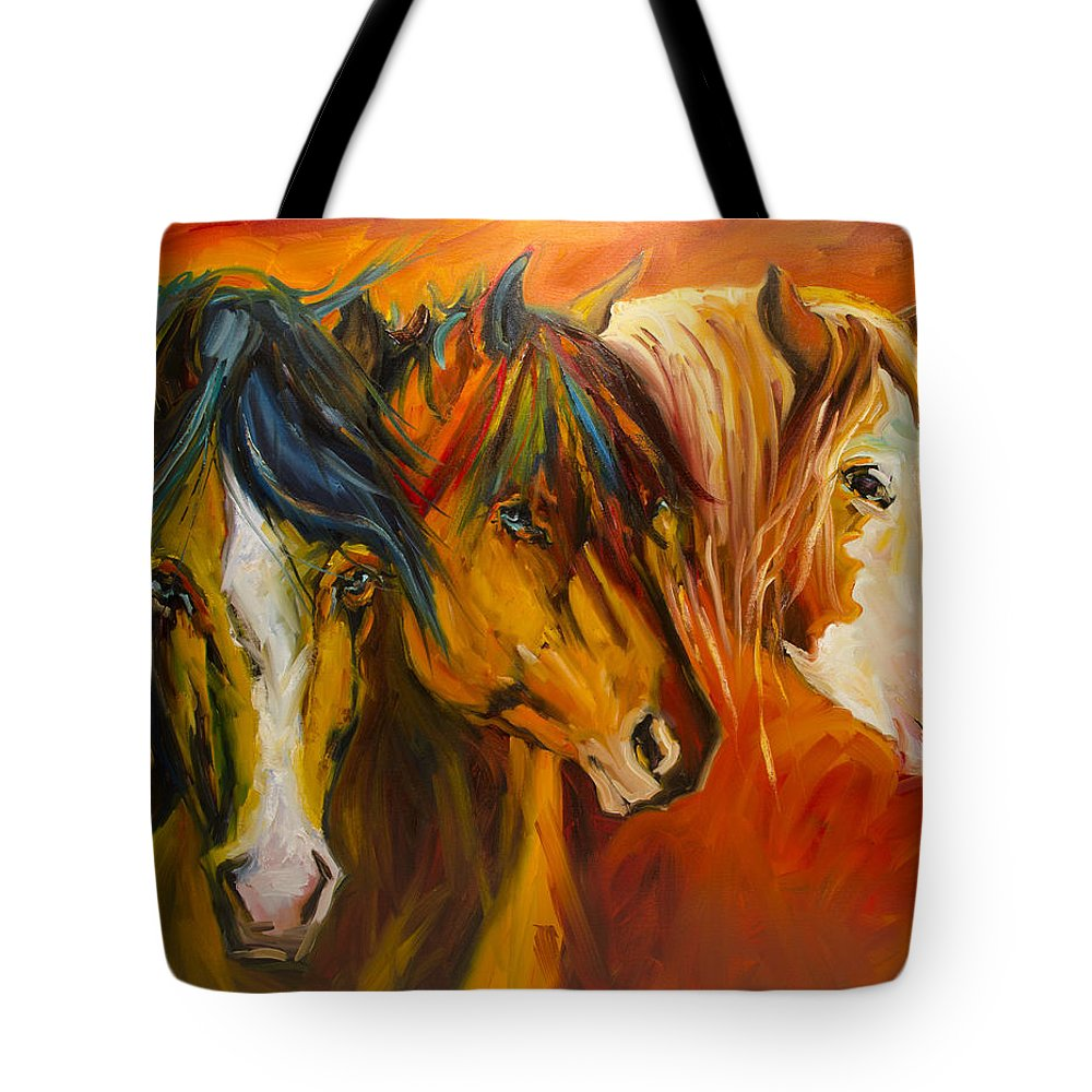 Horse Tote Bag featuring the painting Three at the Fence Line by Diane Whitehead
