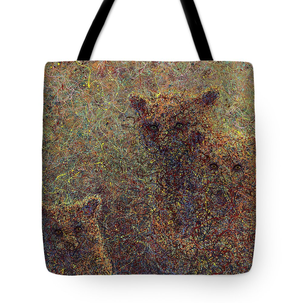 Bears Tote Bag featuring the painting Three Bears by James W Johnson