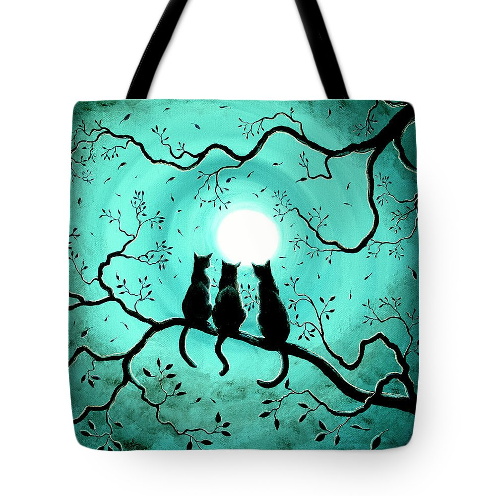 Black Tote Bag featuring the painting Three Black Cats Under a Full Moon by Laura Iverson