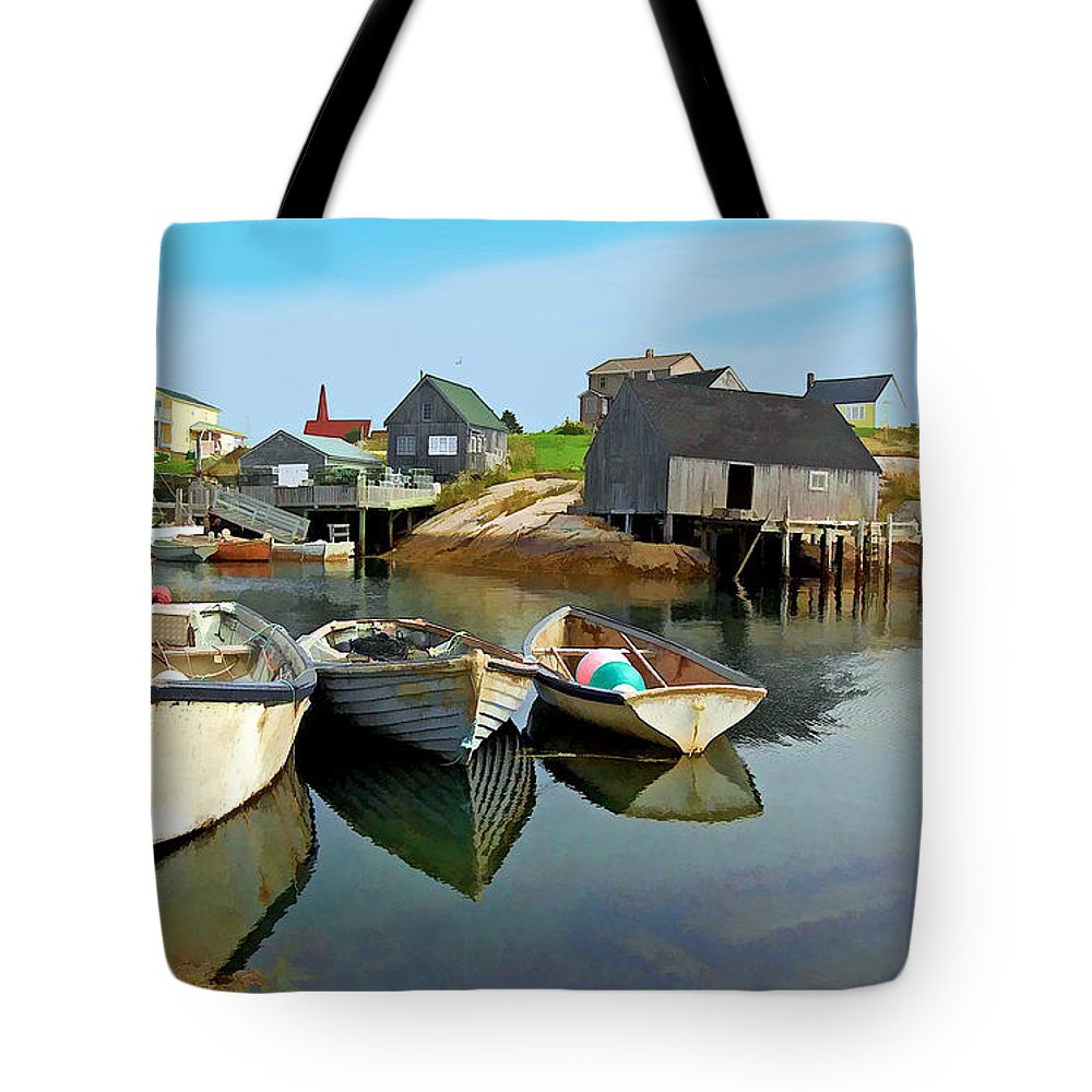 Boats Tote Bag featuring the photograph Three Boats At Peggys Cove by Kevin J McGraw