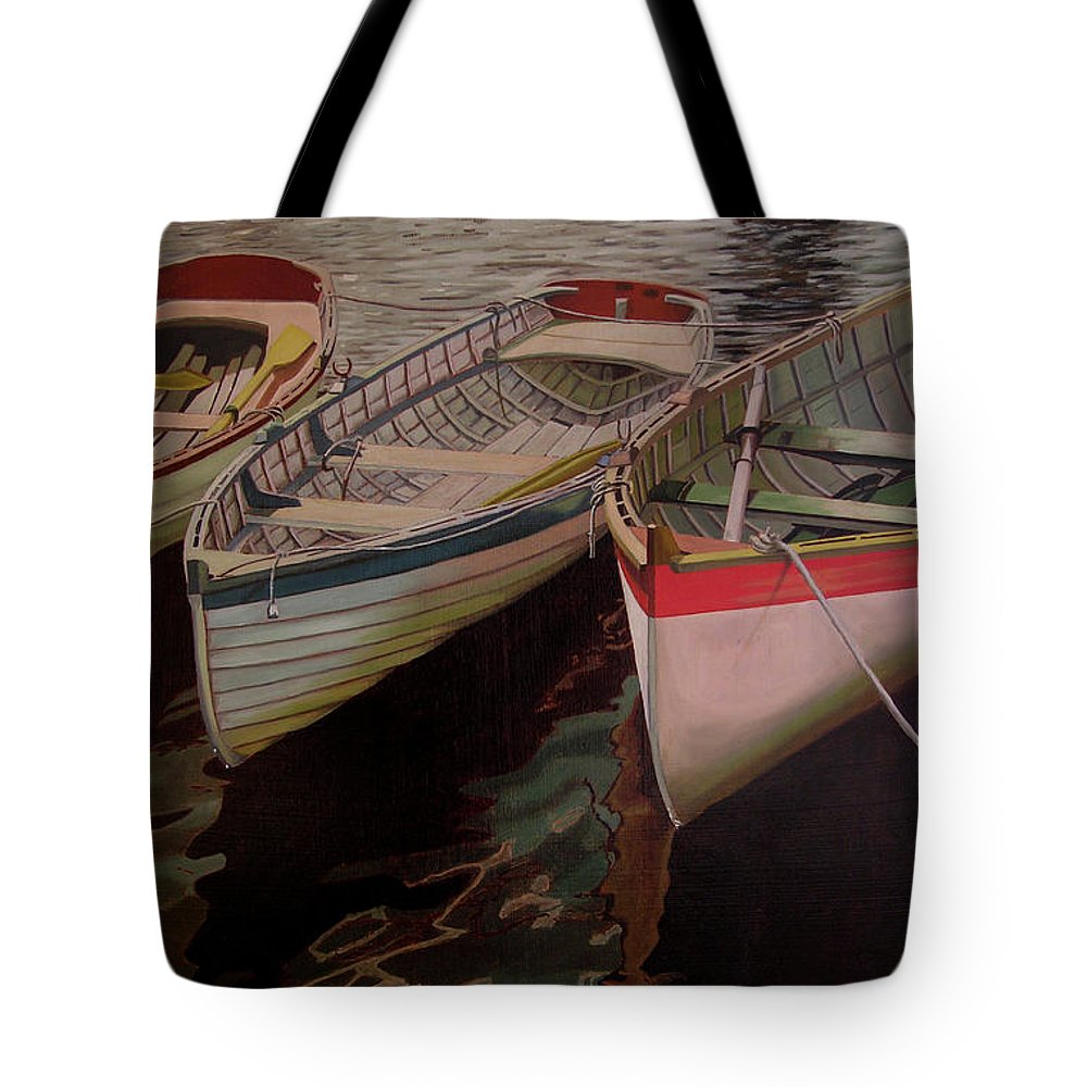 Boats Tote Bag featuring the painting Three Boats by Thu Nguyen