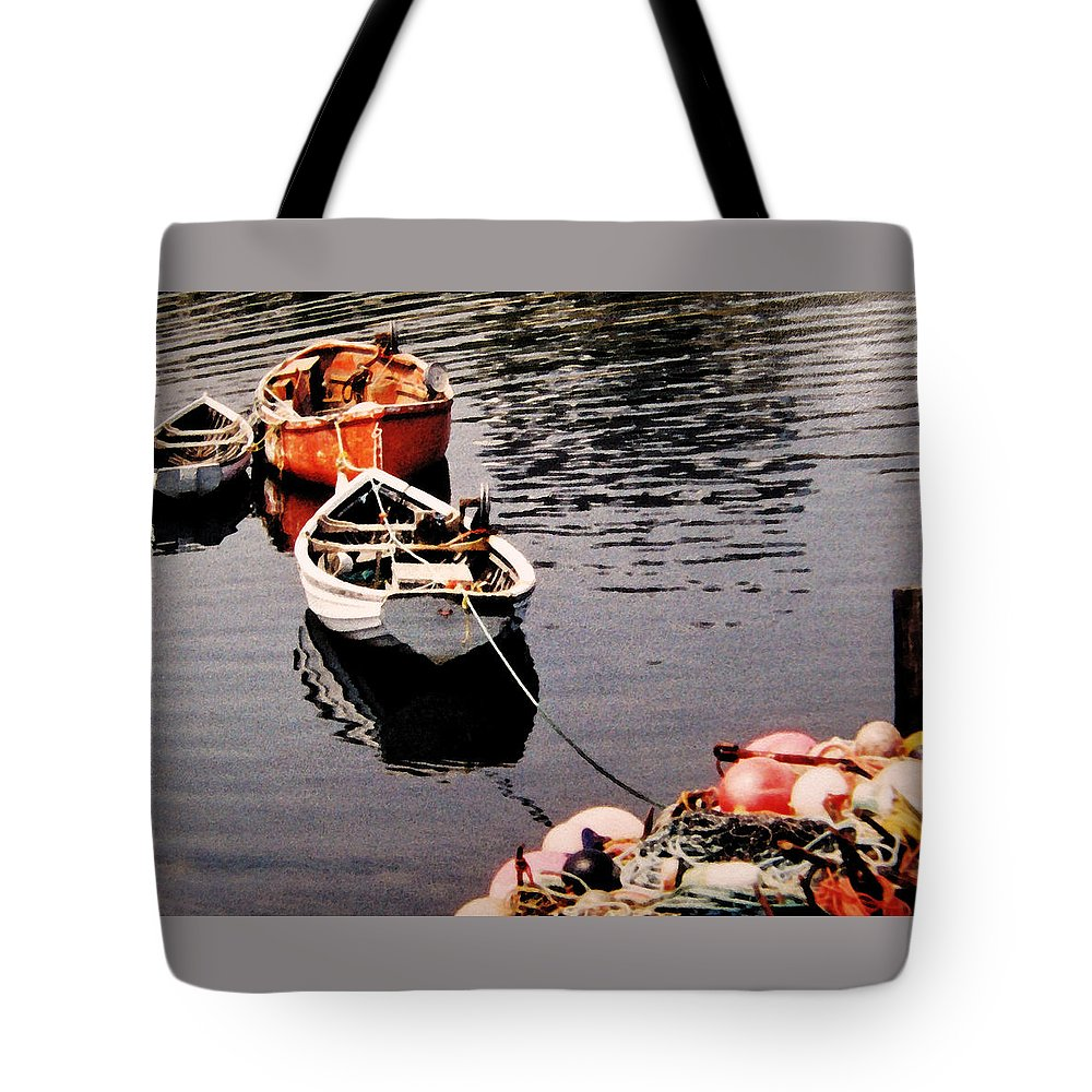 Boats Tote Bag featuring the photograph Three Boats Waiting by Ian MacDonald