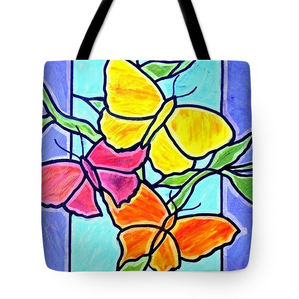 Butterflies Tote Bag featuring the painting Three Butterflies by Jim Harris