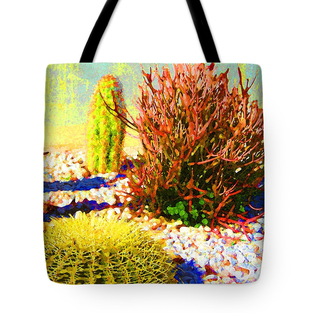 Landscape Tote Bag featuring the painting Three Cacti by Amy Vangsgard