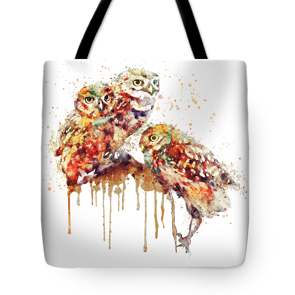 Cute Tote Bag featuring the painting Three Cute Owls Watercolor by Marian Voicu