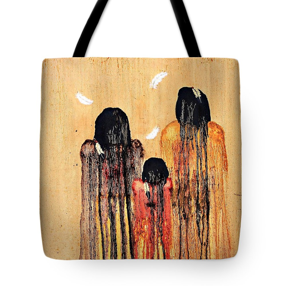 Art Tote Bag featuring the painting Three Feathers by Patrick Trotter