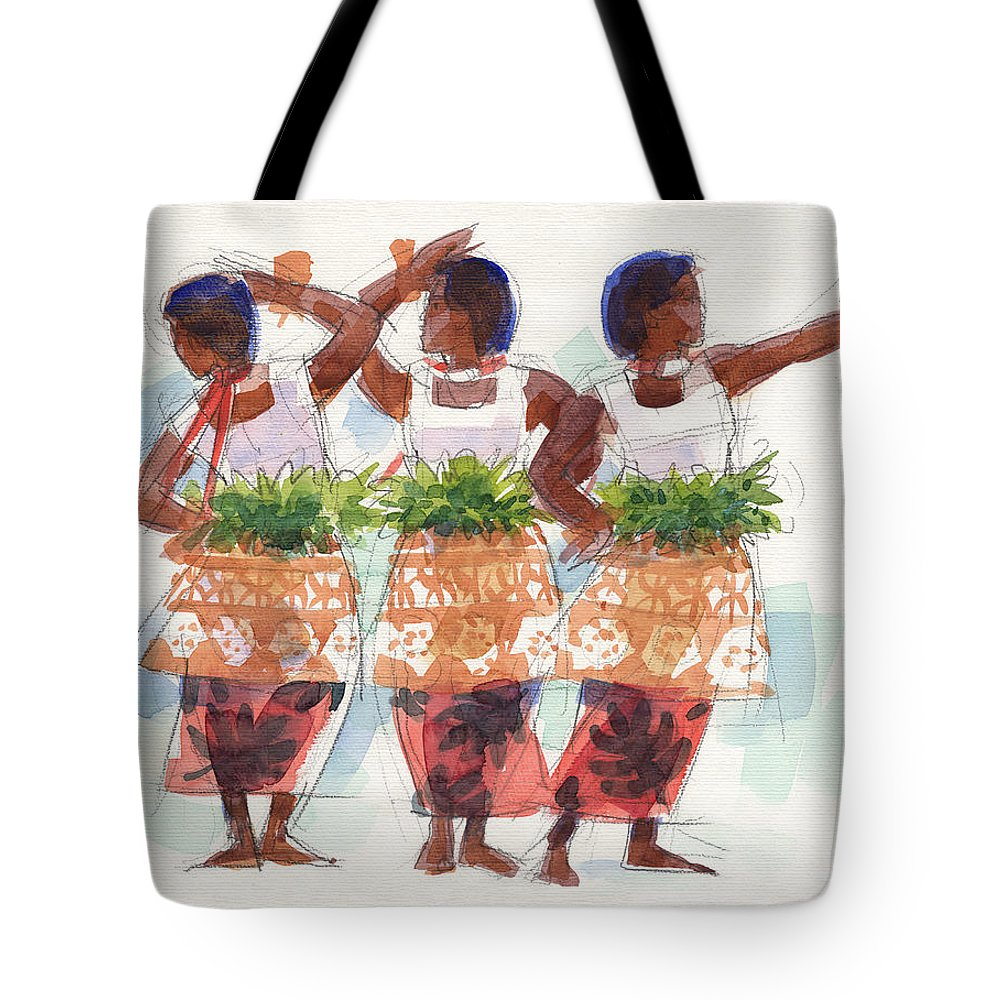 Dancers Tote Bag featuring the painting Three Fijian Dancers by Judith Kunzle