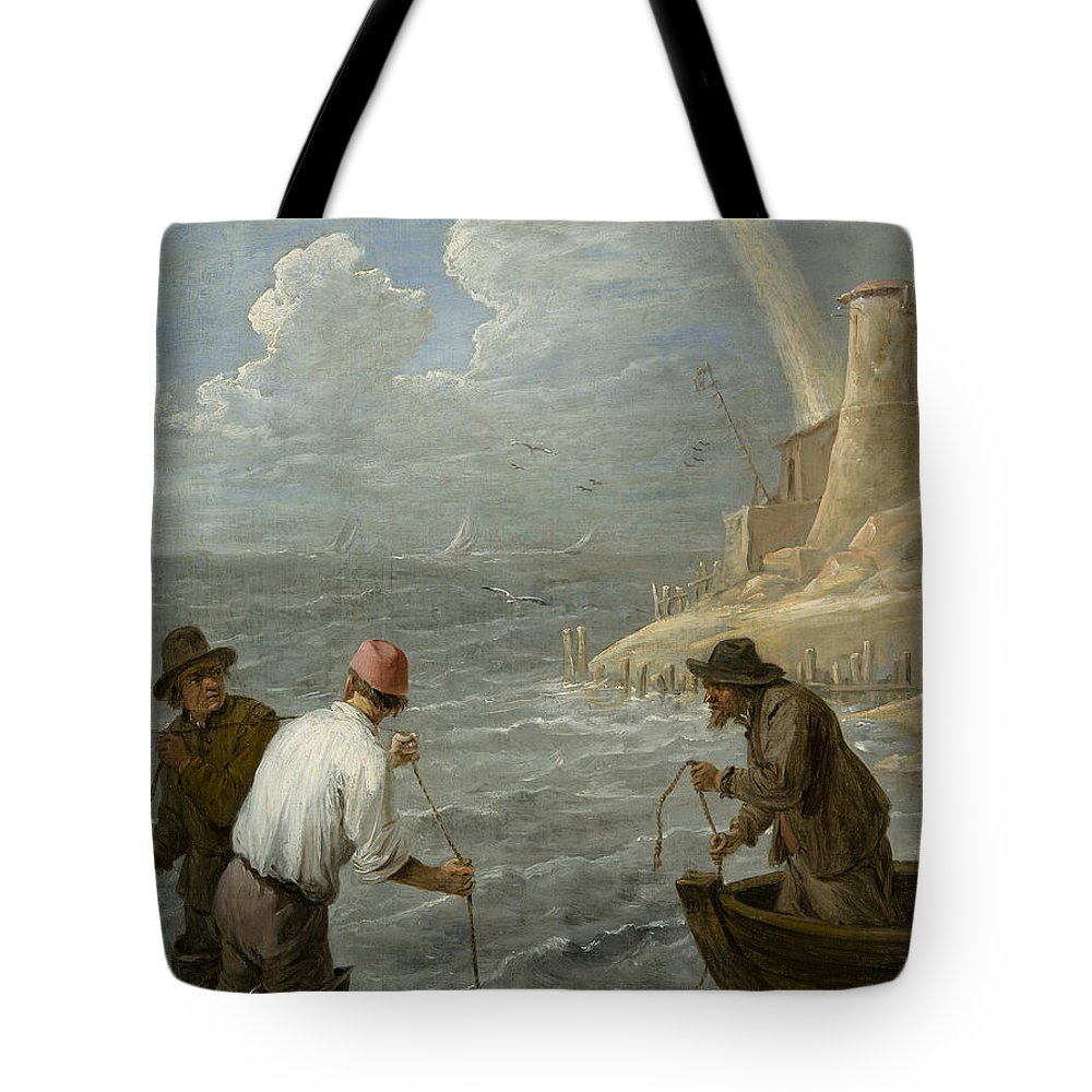 17th Century Art Tote Bag featuring the painting Three Fishermen Casting Their Nets by David Teniers the Younger