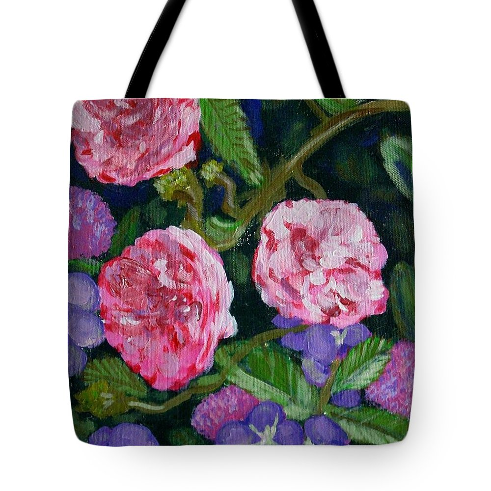 Roses Tote Bag featuring the painting Three For The Show by Laurie Morgan