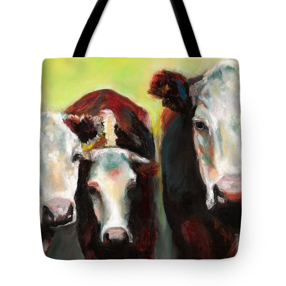 Cows Tote Bag featuring the painting Three Generations Of Moo by Frances Marino