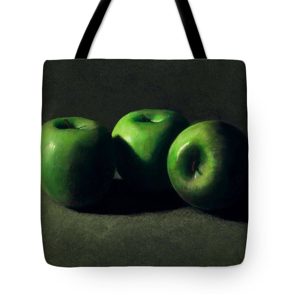 Still Life Tote Bag featuring the painting Three Green Apples by Frank Wilson