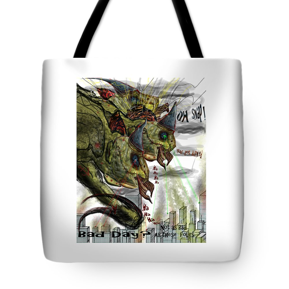 Bird Monster Tote Bag featuring the digital art Three Headed Bird Cyborg Monster Attacking A City With Fire And Lasers For T-shirts by Don Lee