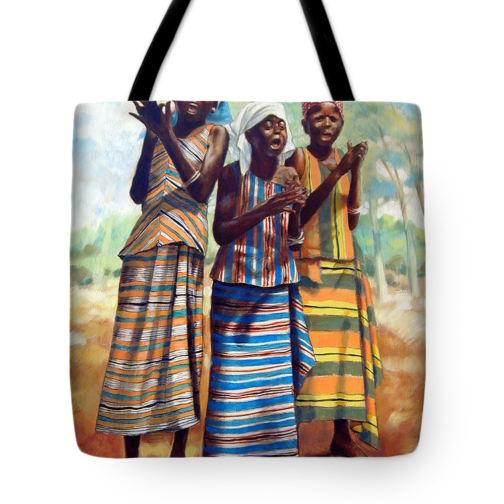 3 African Girls Tote Bag featuring the painting Three Joyful Girls by John Lautermilch